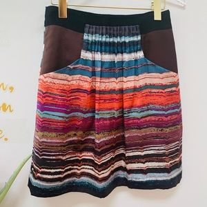 Anthropologie Hype 100% Silk Multi-Color Skirt 6